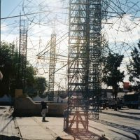 Scaffolding towers for fireworks during celebrations in honour of Saint John of God, centre of Tultepec, Mexico 2009