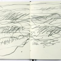 Sketch book for 'Sound of the Sea' project during residency at Aldeburgh Beach Look Out, Aldeburgh, Suffolk 2014