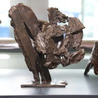 'Voice of the Mountain: Sudden Storm' (model) bronze 18.5 x 19 x 14cm 2008. Artist's collection