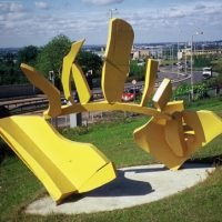 'Dawn of Time' painted steel 200 x 300 x 150cm 2002. Collection: Dudley Metropolitan Council, West Midlands