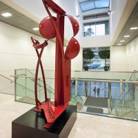 'Shepherd of the Sun' painted steel 270 x 130 x 85cm 1994. Collection: The Canary Wharf Group, Canary Wharf, London