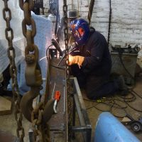 Matt Fairley welding steel for 'Morning Star' from the 'Star Series'